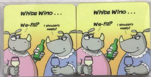 White Wine Set of Four Funny Table Coasters